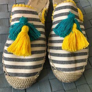 Leila Espadrilles Mules, Navy Stripe & tassels